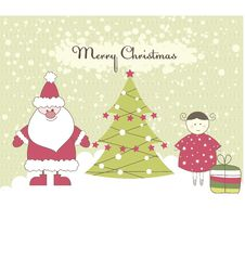 Free Card With Santa And Girl. Vector Illustration Royalty Free Stock Images - 16426239