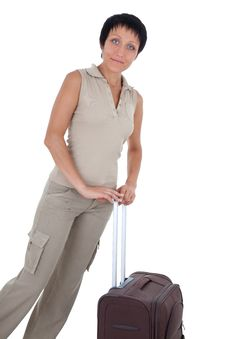 Young Woman Stands With Traveling Suitcase Isolate Royalty Free Stock Image