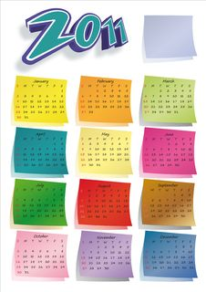 Free Colorful Post-it Calendar 2011 Stock Photography - 16426802