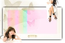 Free Big Screen And Two Girls Royalty Free Stock Photos - 16428008
