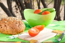 Free Rye Bread And Vegetables Ready For Cutting Stock Image - 16428171