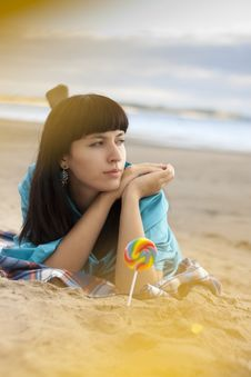 Free Woman Eating Candy Lollipops Stock Photos - 16428453