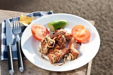 Free Grilled Meat Pieces With Vegetables Stock Photos - 16429053