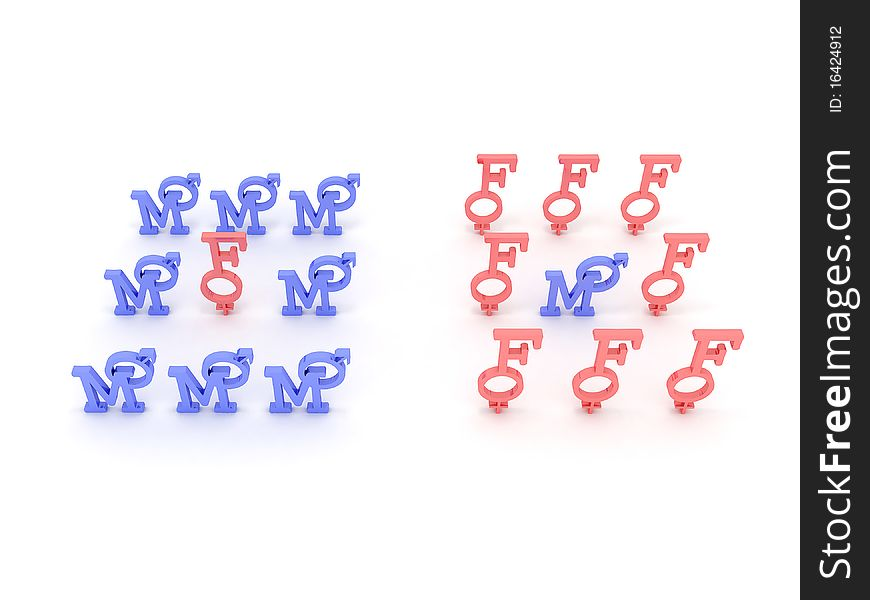 Symbols of male and female pink and blue. 3D