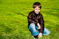 Free Little  Boy On The Green Grass Royalty Free Stock Photo - 16431155