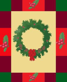 Free Holly Wreath Christmas Card Royalty Free Stock Images - 16431379