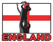 Rugby Line-out England Flag Stock Photo