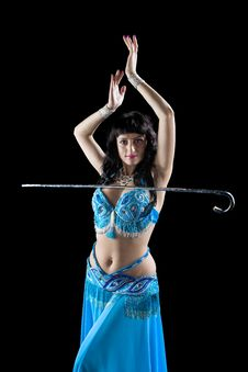 Free Woman In Blue Dance With Cane Stock Photo - 16431920