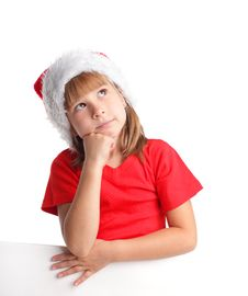 Free Little Girl In Christmas Hat Royalty Free Stock Image - 16432386