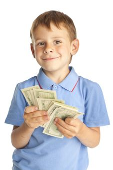 Free Child With Dollars Stock Photography - 16432602
