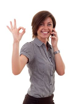 Free Woman With Phone And Ok Gesture Royalty Free Stock Image - 16433136