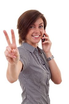 Woman With Phone And Victory Gesture Royalty Free Stock Images