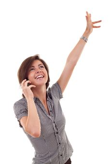 Free Woman On The Phone Winning Royalty Free Stock Photo - 16433145