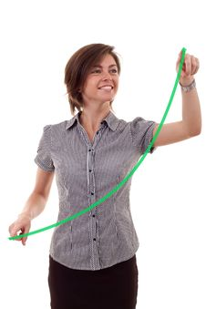 Free Woman Drawing A Growing Graph Royalty Free Stock Photos - 16433188