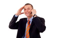 Man Talking On His Mobile Phone Stock Images