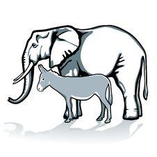 Elephant And Donkey Stock Photography