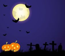 Free Vector Cemetery And Full Moon. Stock Photo - 16435740