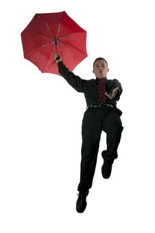Red Umbrella, Red Tie, And Flying Man Stock Photography