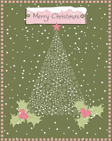 Free Christmas Tree Made With Snowflakes Royalty Free Stock Image - 16437396