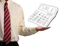Free Man Holding A Calculator Stock Images - 16437724