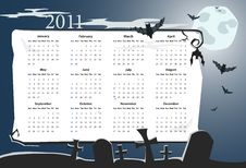 Free Vector Halloween Calendar 2011 With Cemetery Royalty Free Stock Images - 16438089