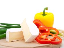 Wheel Of French Cheese With Vegetables Royalty Free Stock Photo