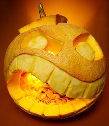 Orange Smiling Pumpkin Royalty Free Stock Photo
