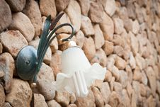 Wall Lamp On Stone Wall Royalty Free Stock Photography
