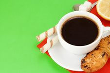 Coffee, Waffle And Cookies Stock Photo