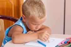 Free Little Boy Crayons Stock Photo - 16441340