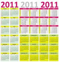 Free Colorful Calendar For Year 2011 Royalty Free Stock Photos - 16442048