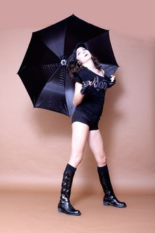 Free Cheerful Girl With Umbrella Royalty Free Stock Image - 16442096