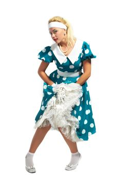 Free Lady In A Polka Dot Dress Royalty Free Stock Photos - 16442388