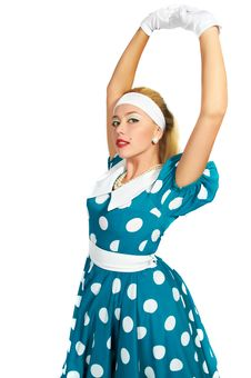 Free Lady In A Polka Dot Dress Stock Images - 16442534