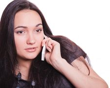 Free Charming Young Woman Speaking By Phone Stock Image - 16443361