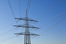 Electrical Powertower With Cable And Sky Royalty Free Stock Photos
