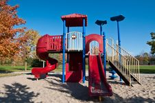 Free Park With Playground Equipment In Autumn Royalty Free Stock Photography - 16444387