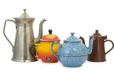 Free Set Of Old Kettles Royalty Free Stock Photo - 16445195