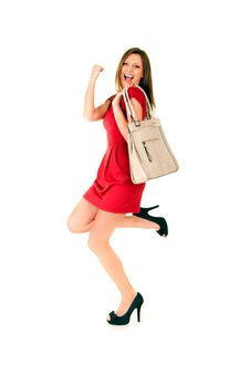Happy Girl In Red Dress Royalty Free Stock Image