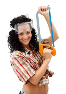 Free Sexy Craftswoman With A Saw Royalty Free Stock Images - 16446139
