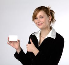 Businesswoman Holding A Blank Card Royalty Free Stock Photo