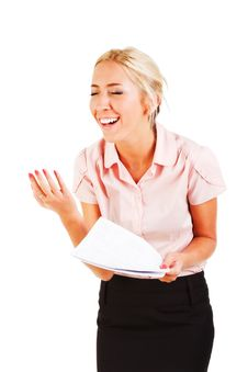 Free Emotional Business Woman With A Papers Royalty Free Stock Images - 16446889