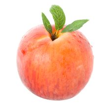 Free Ripe Peach With Leaves Royalty Free Stock Images - 16447739