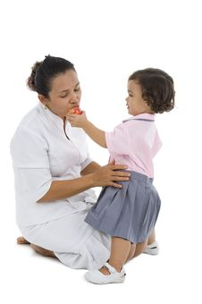 Free Cute Girl Feeding Her Mother Royalty Free Stock Photo - 16448435