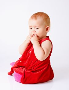 Free Little Girl In Red Dress Royalty Free Stock Photo - 16449925