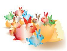 Free Colorful Abstract Easter Bunnies Royalty Free Stock Image - 16450516