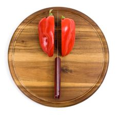 Free Red Pepper On Kitchen Board With Knife Royalty Free Stock Photos - 16450828
