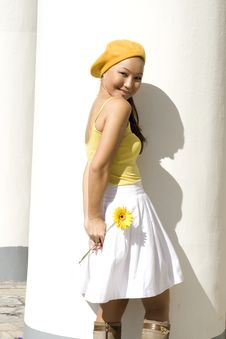 Free A Girl With Yellow Flower Stock Images - 16452354