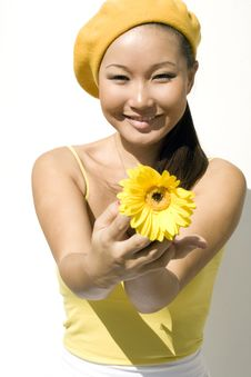Free Closeup Portrait Of A Girl With Flower Stock Photo - 16452360