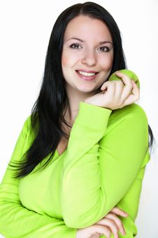 Free Beautiful Young Woman With A Green Apple Stock Images - 16453204